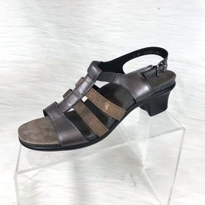 SAS Allegro Heel Sandals Pewter Bronze Size 8 M
